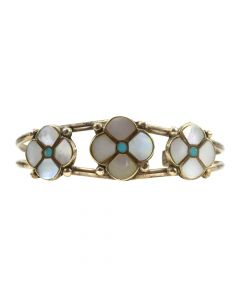 Mike Simplicio - Zuni Mother of Pearl and Turquoise Channel Inlay and Silver Flower Bracelet c. 1960-70s, size 5.5