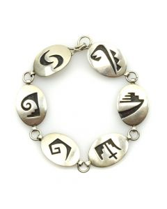 Norman Honie Jr. - Hopi Silver Overlay Linked Bracelet c. 1970s, size 6.5