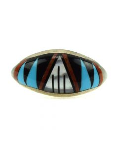 Possibly Robert Mayes - Navajo Multi-Stone Inlay and Silver Ring c. 1980s, size 6