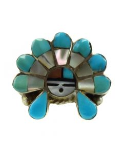 Andrew Laahte - Zuni Multi-Stone Channel Inlay and Silver Sunface Kachina Ring c. 1980s, size 5.5