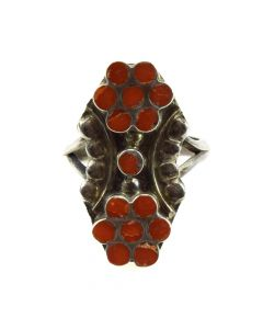 Dishta - Zuni Coral and Silver Ring with Flower Design c. 1950s, size 6