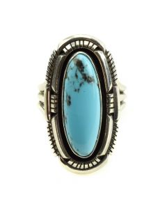 Running Bear Shop - Navajo Turquoise and Silver Ring c. 1970s, size 7