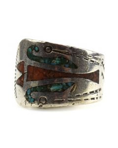 Navajo Turquoise and Coral Chip Inlay and Silver Stamped Ring c. 1980s, size 7