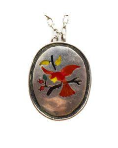 "Zuni Multi-Stone and Silver Bird Pendant with Handmade Chain, c. 1980s, 18"" length"