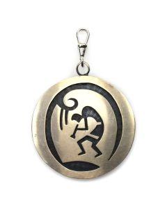 """Hopi Silver Overlay Pendant c. 1970-80s, 2"""" diameter"""