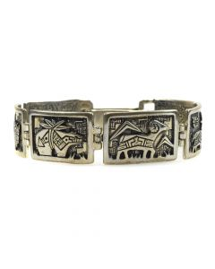 Roderick and Marilyn Tenorio - Contemporary Kewa Silver Overlay Bracelet with Animal Designs, size 7