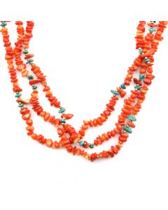 """Santo Domingo Coral, Turquoise and Silver Beaded Necklace c. 1970s, 28"""" length"""