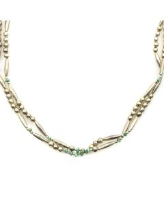 """Navajo Turquoise and Silver Beaded Necklace c. 1960-70s, 28"""" length"""