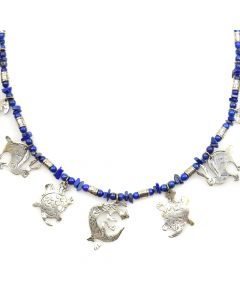 "Mexican Lapis Lazuli and Silver Beaded Necklace with Animal Designs c. 1960s, 26"" length"