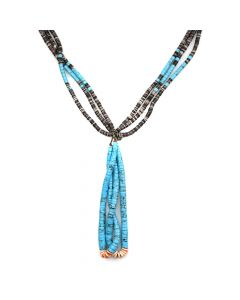 "Navajo Stabilized Turquoise, Spiny Oyster and Heishi Necklace c. 1960-70s, 50"" length"