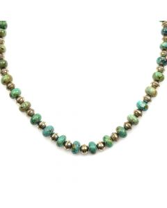 """Navajo Turquoise and Silver Beaded Necklace c. 1960-70s, 24"""" length"""
