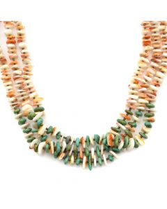 """Santo Domingo Turquoise, Spiny Oyster and Heishi Necklace c. 1980-90s, 28"""" length"""