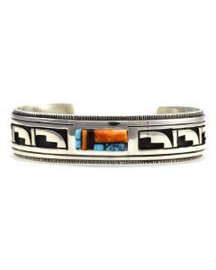 Timmy Yazzie - Navajo Multi-Stone and Sterling Silver Overlay Bracelet, size 6.5