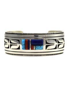 Timmy Yazzie - Navajo Multi-Stone and Sterling Silver Overlay Bracelet, size 6.5 (J10657)