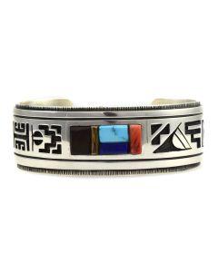Timmy Yazzie - Navajo Multi-Stone and Sterling Silver Overlay Bracelet, size 6.75
