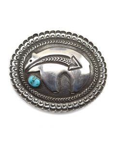 """Possibly Darrell or Dean Brown - Navajo Turquoise and Sterling Silver Stamped Belt Buckle with Bear Design c. 1960s, 2.5"""" x 3"""""""