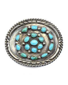 """Navajo Turquoise Cluster and Silver Belt Buckle c. 1960s, 2.75"""" x 3.375"""""""