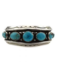 Mark Chee - Navajo Turquoise and Silver Bracelet c. 1950s, size 6.25