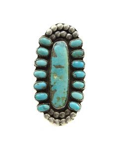 Navajo Turquoise and Silver Ring c. 1950s, size 7.25