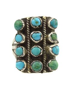 Navajo Turquoise and Silver Ring c. 1930-40s, size 10