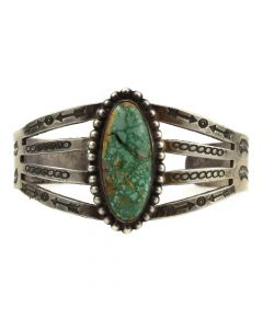 Navajo Turquoise and Silver Stamped Bracelet with Thunderbird and Arrow Designs c. 1940s, size 6.5
