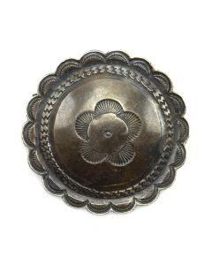 "Navajo Silver Stamped Concho Pin c. 1940s, 1.5"" diameter"
