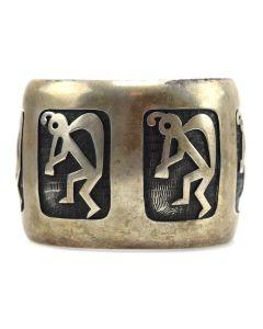 Bernard Dawahoya (1937-2010) - Hopi Silver Overlay Kokopelli Bracelet c. 1980s, size 8