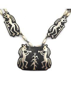 "Bernard Dawahoya (1937-2010) - Hopi Silver Overlay Kokopelli Necklace c. 1980s, 30"" length"