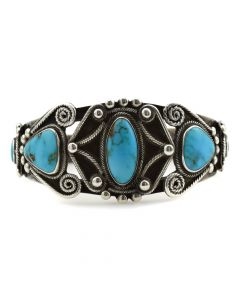 Navajo Turquoise and Silver Bracelet with Rope Design c. 1940s, size 6.5