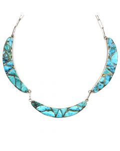 "Zuni Turquoise Channel Inlay and Silver Necklace c. 1940s, 16"" length"