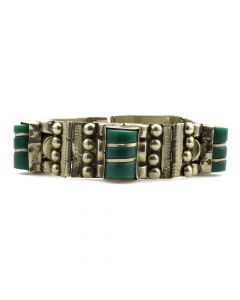 Mexican Silver and Bakelite Linked Bracelet c. 1950s, size 7.5