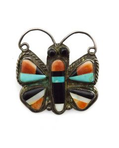 "Zuni Multi-Stone Inlay and Silver Butterfly Pin c. 1930-40s, 1.25"" x 1.25"""