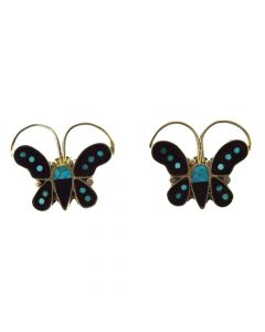 """Zuni Turquoise and Silver Overlay Butterfly Post Earrings c. 1940s, 1"""" x 1.125"""""""