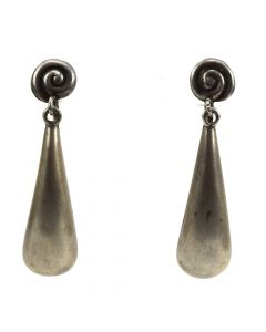 "Mexican Silver Screwback Earrings c. 1940s, 2.25"" x 0.5"""
