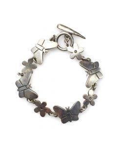 Mexican Silver Bracelet with Butterfly and Flower Designs c. 1950s, size 7