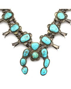 "Navajo Turquoise and Silver Squash Blossom Necklace c. 1950s, 28"" length"