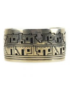 Victor Coochwytewa - Hopi Silver Overlay Bracelets with Pueblo Designs c. 1960s, size 7