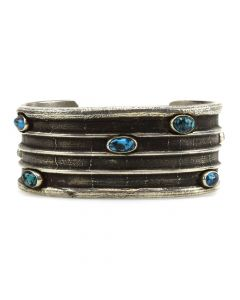Frank Patania, Jr. - Turquoise and Tufa Cast Silver Bracelet c. 1970s, size 7
