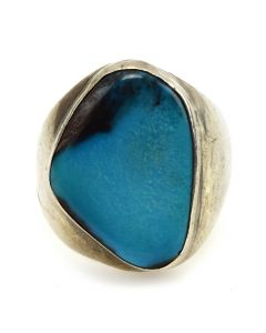 Navajo Bisbee Turquoise and Silver Ring c. 1950-60s, size 11.25
