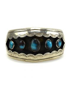 Navajo Bisbee Turquoise and Silver Bracelet c. 1960s, size 6.5
