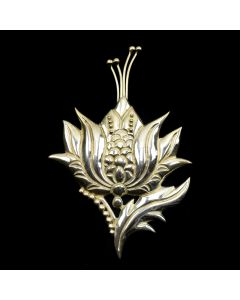 """Contemporary Mexican Silver Pin, 4.25"""" x 3"""""""