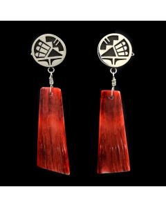 "Timmy Yazzie - Contemporary Navajo/San Felipe Spiny Oyster and Sterling Silver Overlay Earrings with Kachina Design, 3.25"" x 0.75"""