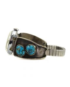 Navajo Turquoise and Silver Overlay Watchband c. 1950s, size 5