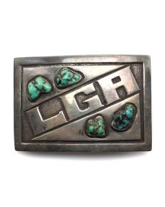 "Carmelo Patania (1902-1999) - Turquoise and Sterling Silver Belt Buckle c. 1960s, 2.25"" x 3.25"" (J1080l)"