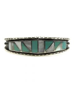 Zuni Turquoise and Mother of Pearl Channel Inlay and Silver Bracelet with Stamped Designs c. 1950s, size 6.75