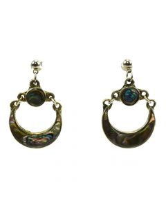 "Mexican Abalone and Silver Post Earrings c. 1980s, 1.5"" x 0.875"""