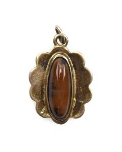 "Navajo Petrified Wood and Silver Pendant c. 1940s, 0.875"" x 0.625"""