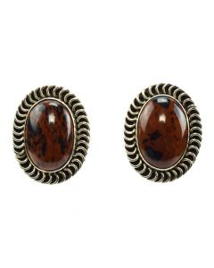 "Mexican Mahogany Obsidian and Silver Clip-on Earrings c. 1980s, 1.375"" x 1"""
