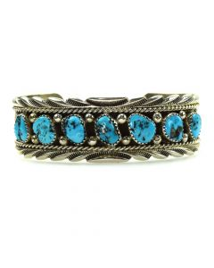 Navajo Turquoise and Silver Bracelet c. 1980s, size 6.5