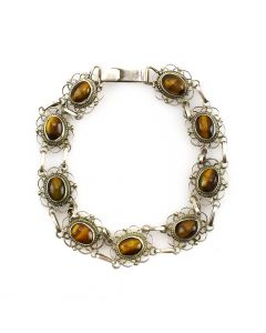 Mexican Golden Tigers Eye and Silver Bracelet c. 1980s, size 7.25